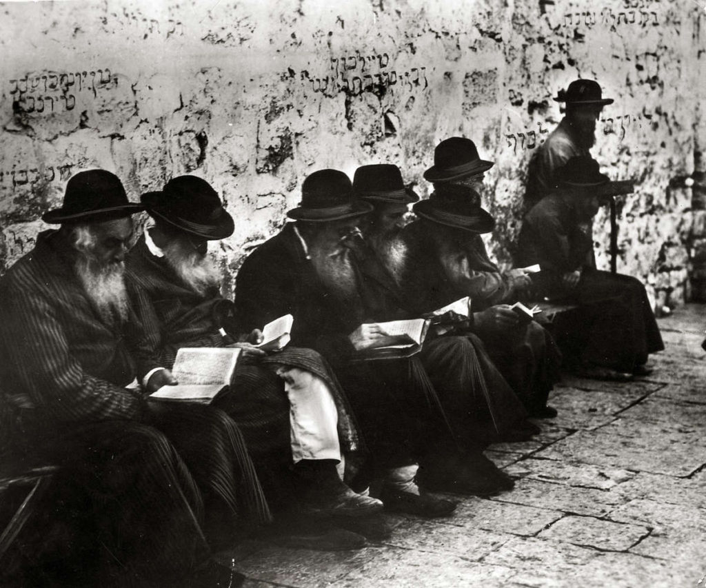 Orthodox Jews pray at the Wailing Wall in Jerusalem, 1929.